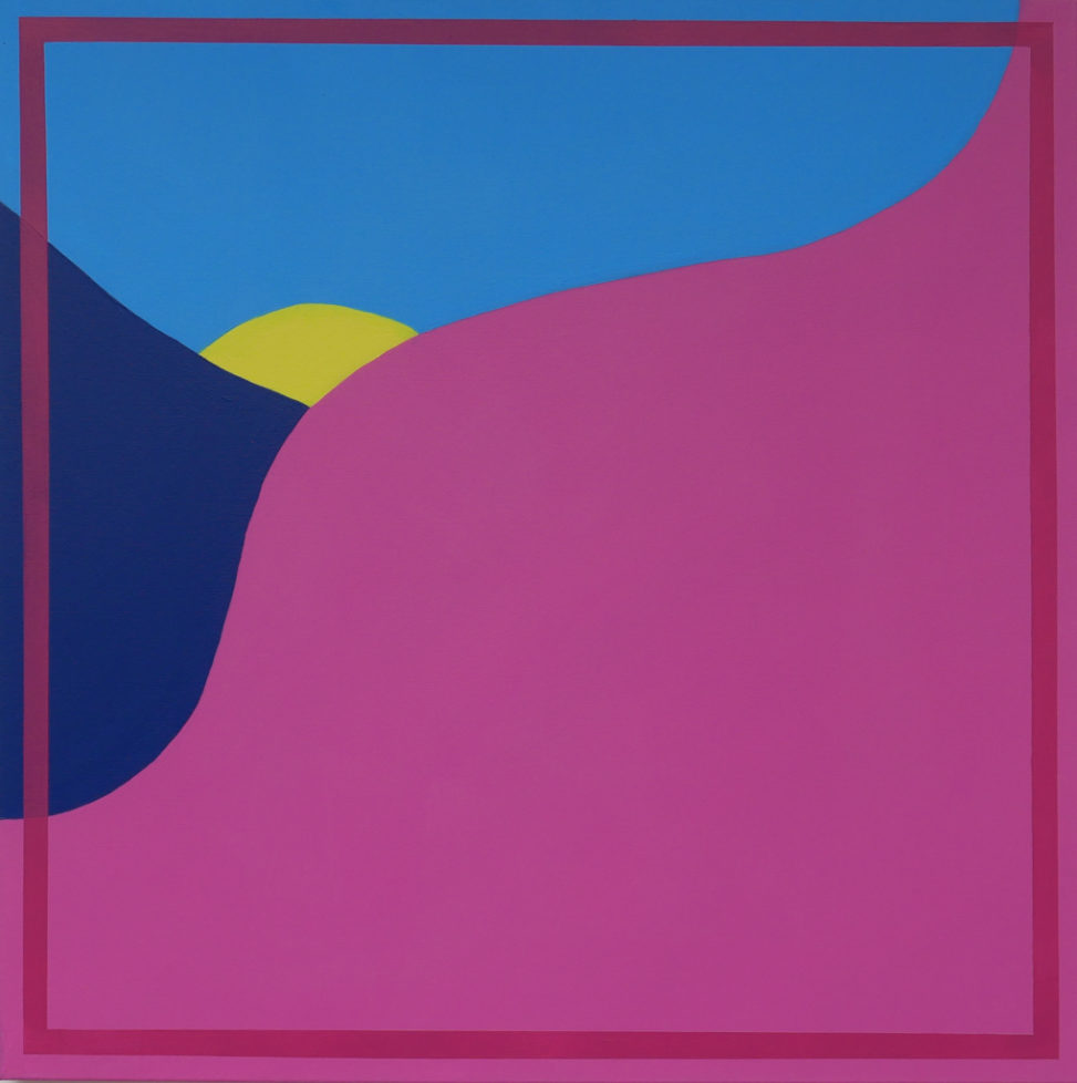 pink, blue and purple abstract painting