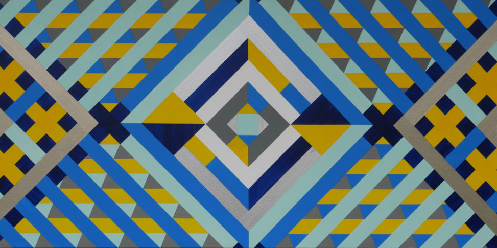 blue, yellow abstract hard-edge painting