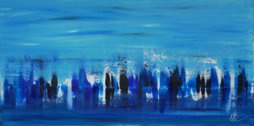 blue and white abstract landscape
