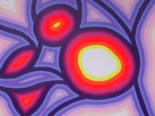 pink, purple, yellow painting