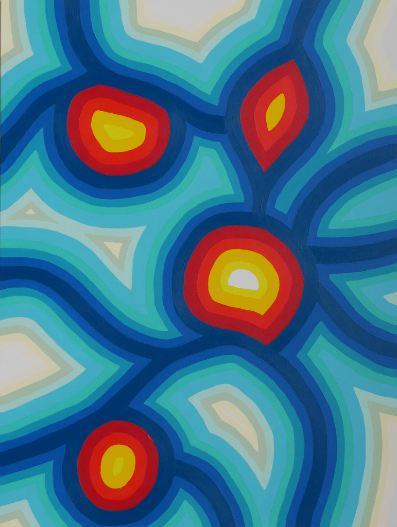 blue, red, yellow painting