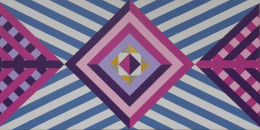 pink, purple, gold hard edge abstract geometric art