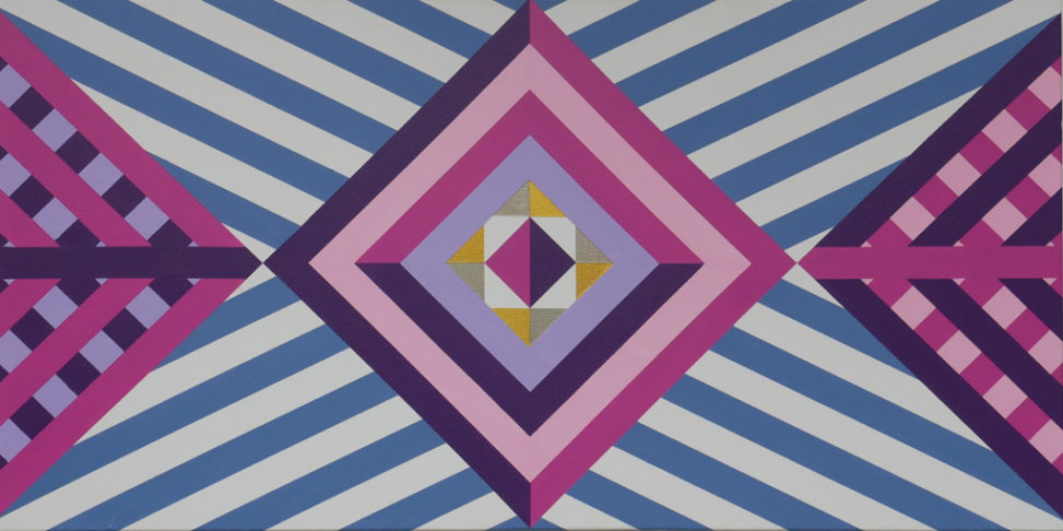 pink, purple, gold hard edge abstract geometric art