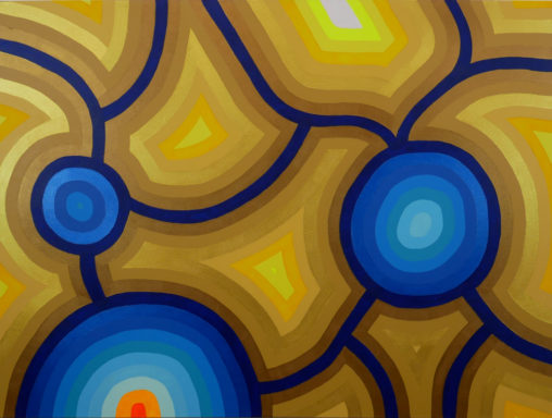 gold, yellow, blue and orange abstract painting
