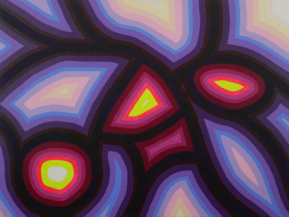 pink, purple, yellow abstract painting
