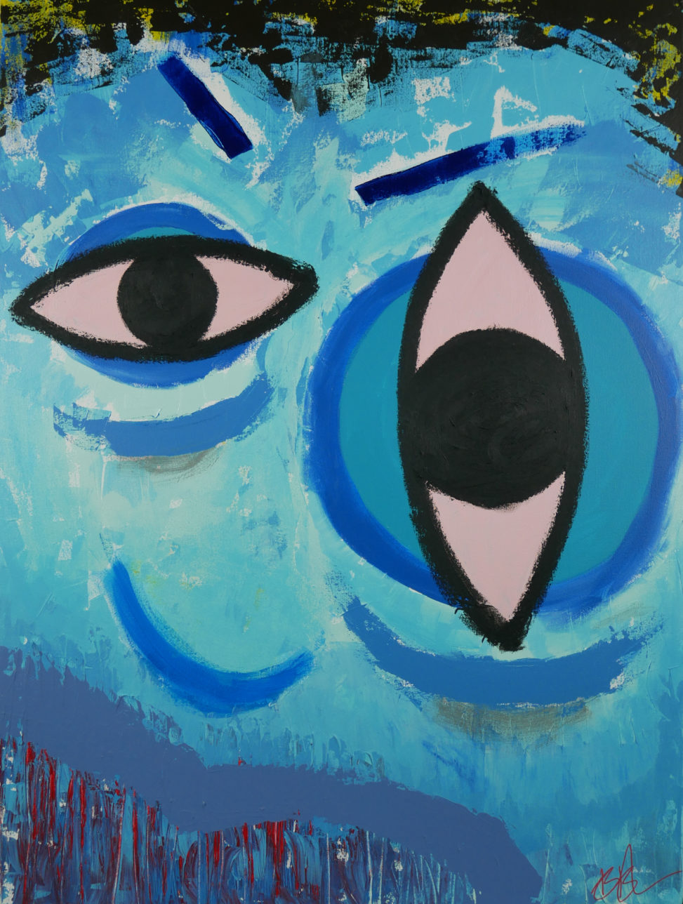 abstract painting of a blue face