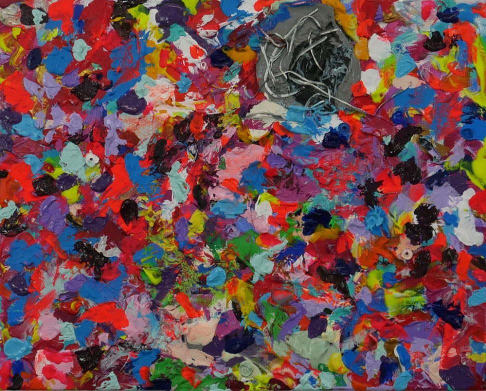 abstract, layered multicolor painting