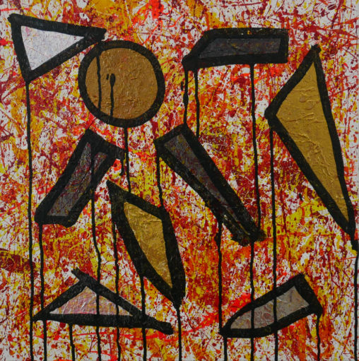 abstract painting with gold, bronze, graphite