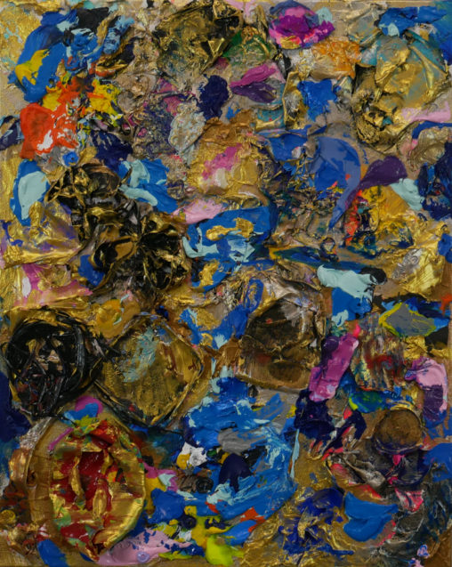 abstract, layered textured painting