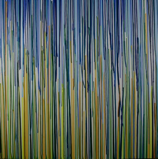 blue, green abstract drips painting